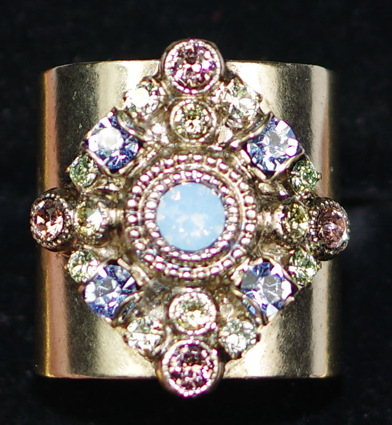 "SORRELLI RING PASTEL PREP: 1"" wide multi color stones on adjustable antique silver band"