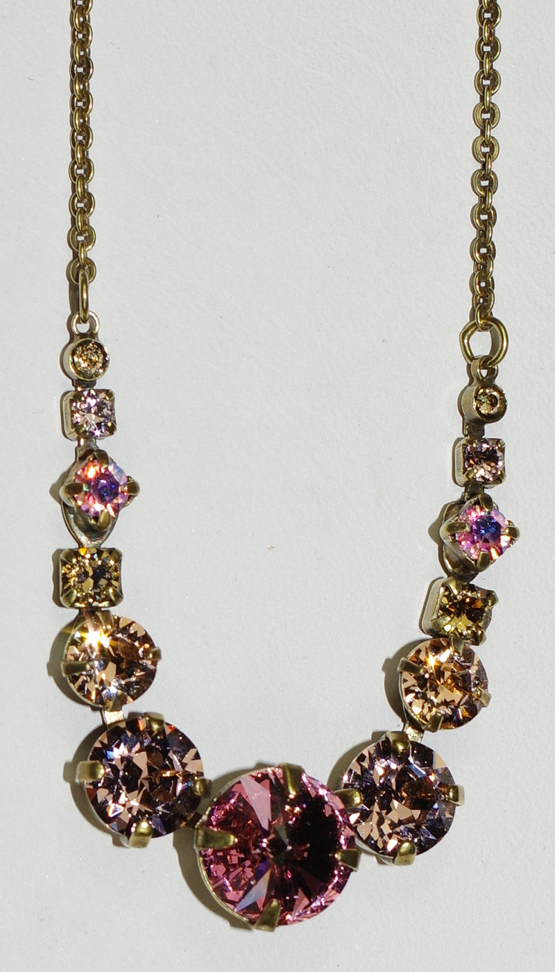 "SORRELLI NECKLACE BEACHCOMBER: pink, amber, peach crystals, center stone = 1"",  in antique gold setting, adjustable chain"