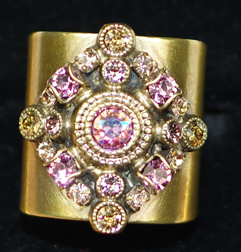 "SORRELLI RING BEACHCOMBER: 1"" wide, multi color stones on adjustable antique gold band"