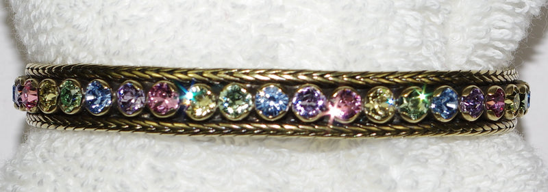 "SORRELLI BRACELET CUFF BOHEMIAN BRIGHT: 1/16"" crystals in antique gold setting"