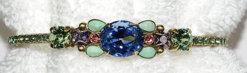 "SORRELLI BRACELET CUFF BOHEMIAN BRIGHT: center blue crystal =1/2"", in antique gold setting"
