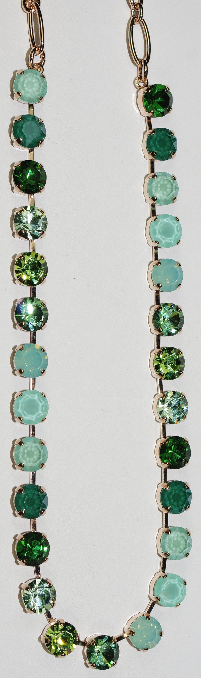 "MARIANA NECKLACE BETTE FERN: pacific opal, green 1/4"" stones in rose gold setting, 17"" adjustable chain"