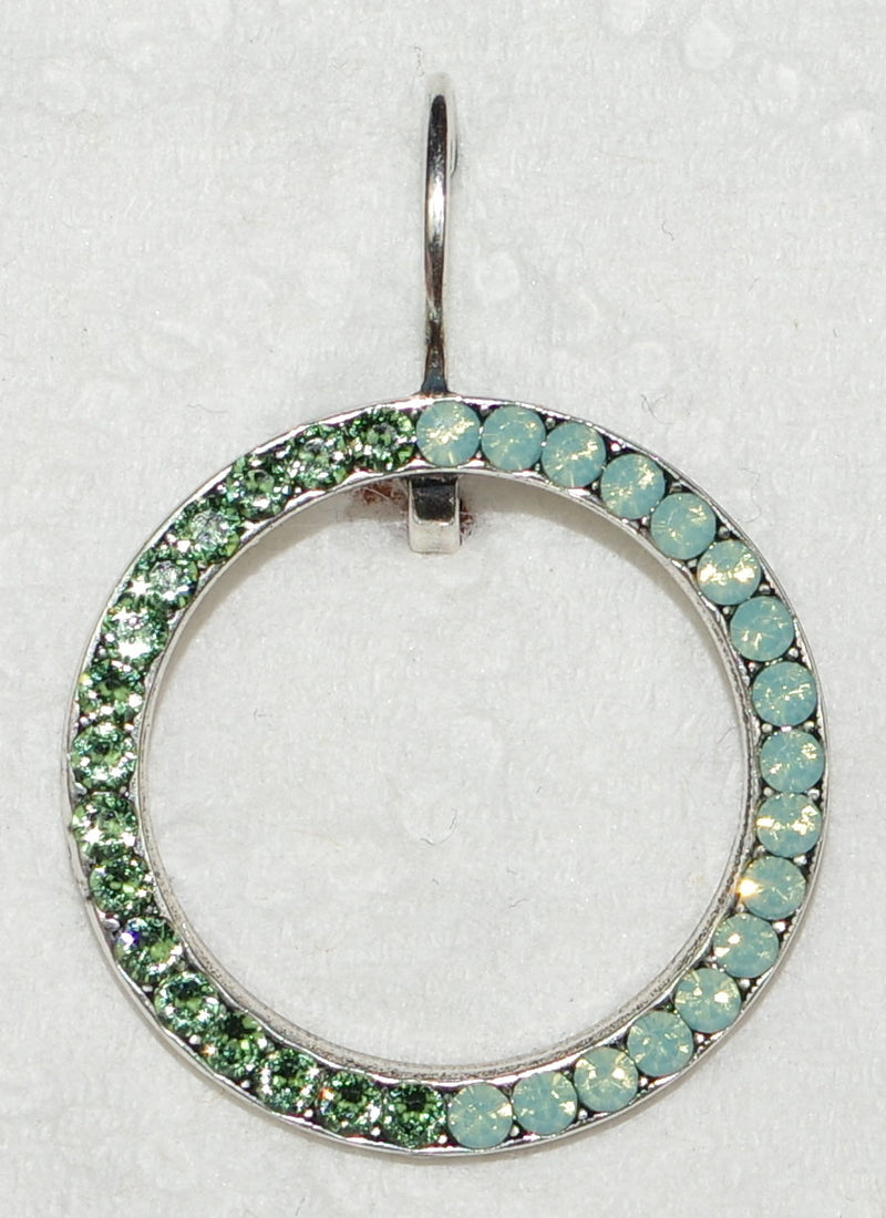 "MARIANA EARRINGS FERN: green, pacific opal stones in 1"" silver setting, lever back"