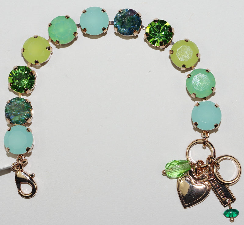 "MARIANA BRACELET FERN: green, pacific opal 1/2"" stones in rose gold setting"