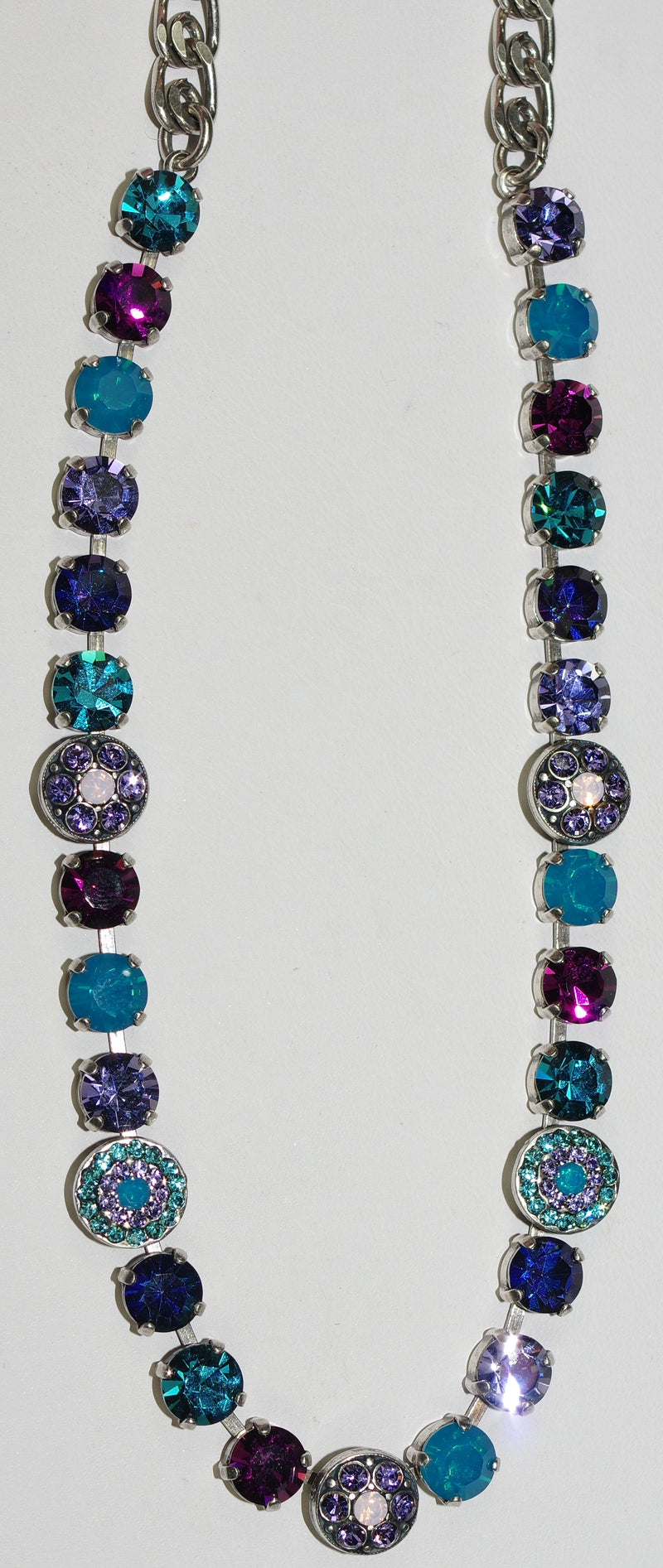"MARIANA NECKLACE PEACOCK: blue, purple, pink 1/2"" stones in silver setting, 18"" adjustable chain"