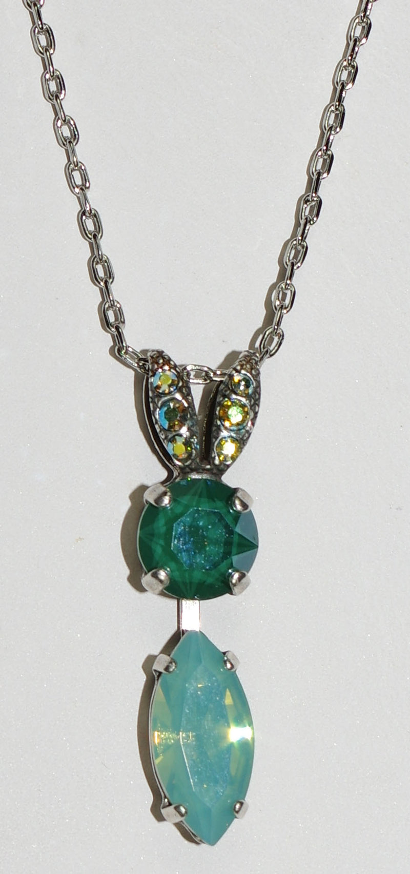 "MARIANA PENDANT FERN: green, pacific opal, a/b stones in 1.25"" pendant, silver setting, 18"" adjustable chain"
