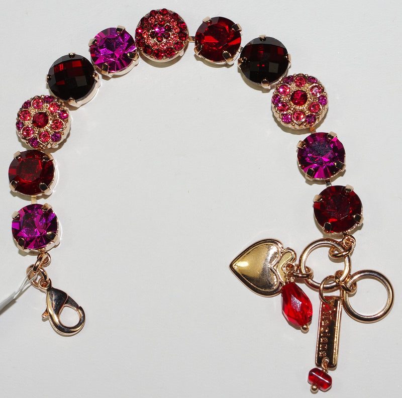 "MARIANA BRACELET FIRE: red, pink 1/2"" stones in rose gold setting"