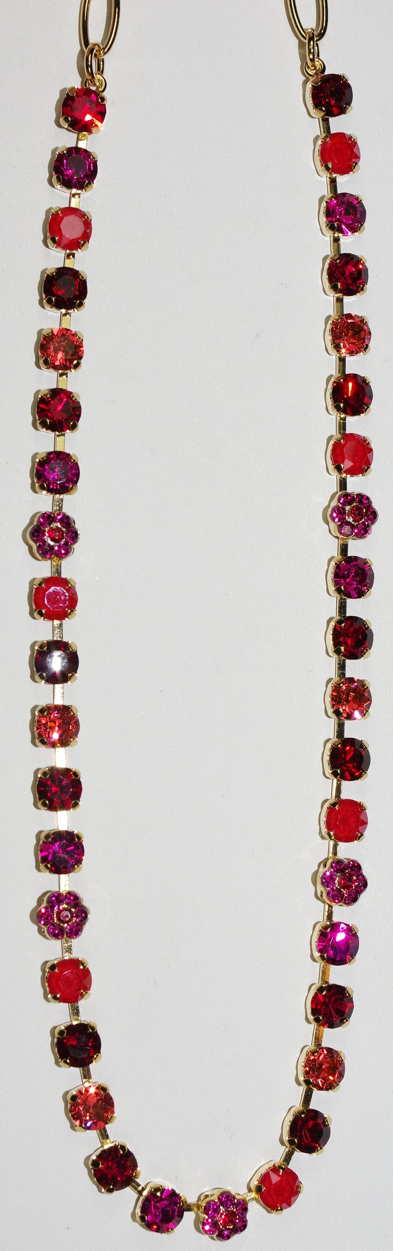 "MARIANA NECKLACE FIRE: pink, red 1/4"" stones in yellow gold setting, 18"" adjustable chain"