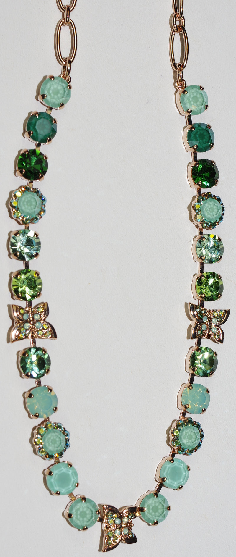 "MARIANA NECKLACE FERN: green 3/8"" stones in rose gold setting, 16"" adjustable chain"