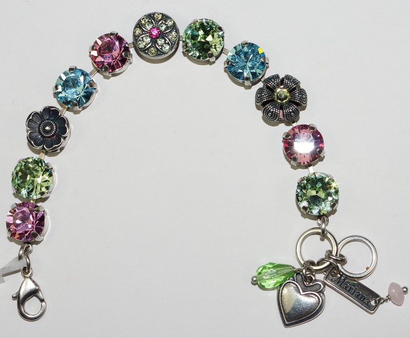 "MARIANA BRACELET SPRING FLOWERS: pink, green, blue 1/2"" stones in silver setting"