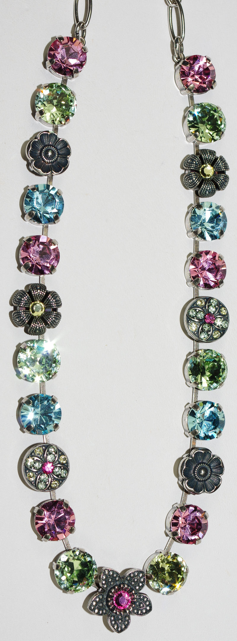 "MARIANA NECKLACE SPRING FLOWERS: pink, yellow, blue, green 1/2"" stones in silver setting, 18"" adjustable chain"