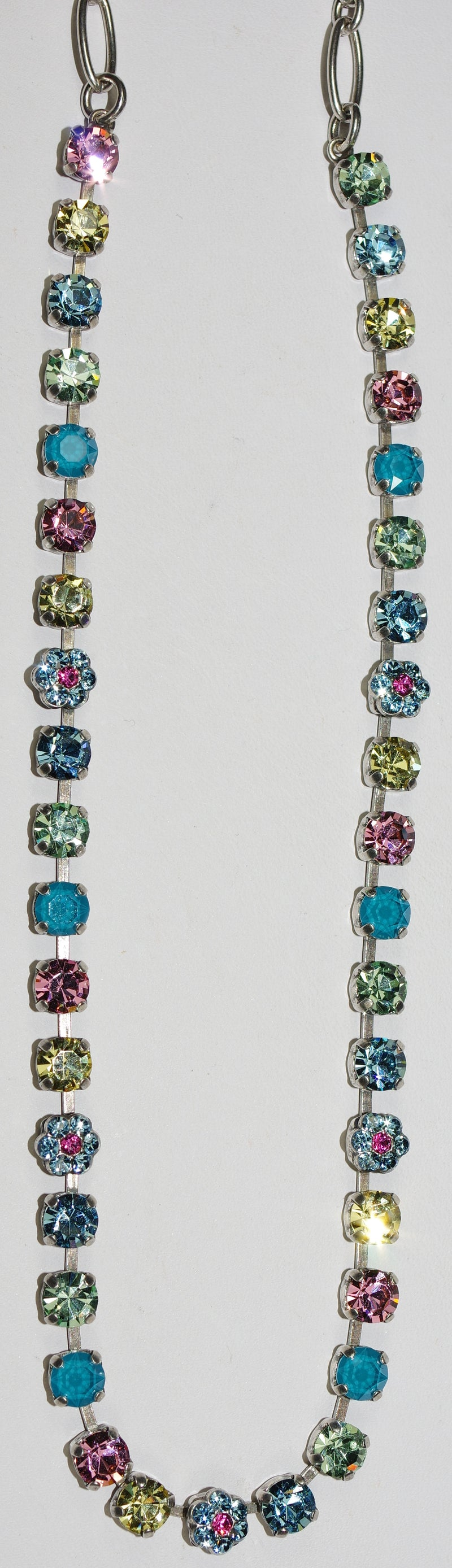"MARIANA NECKLACE SPRING FLOWERS: green, blue, pink, yellow 1/4"" stones in silver setting, 18"" adjustable chain"