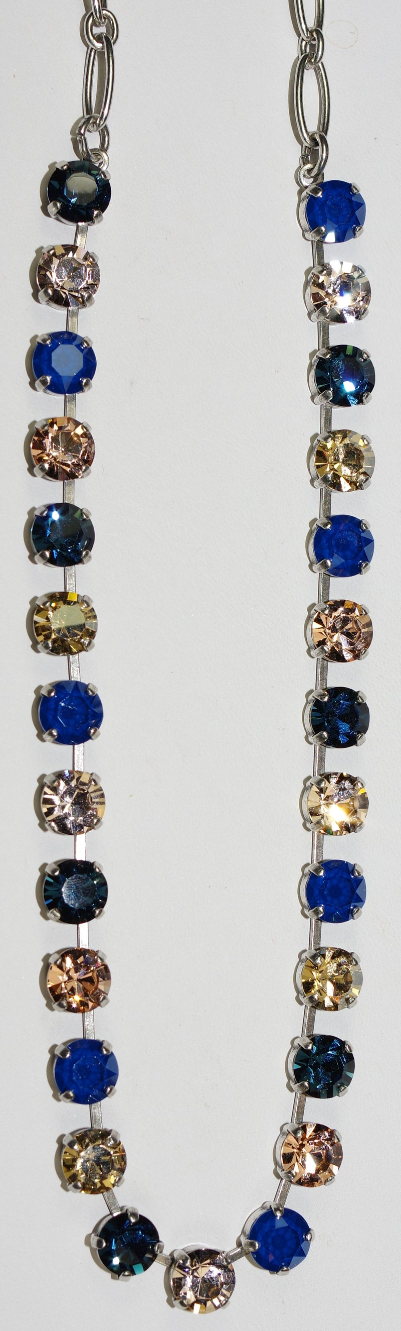 "MARIANA NECKLACE BETTE OCEAN: amber, blue, 1/4"" stones in silver setting, 17"" adjustable chain"