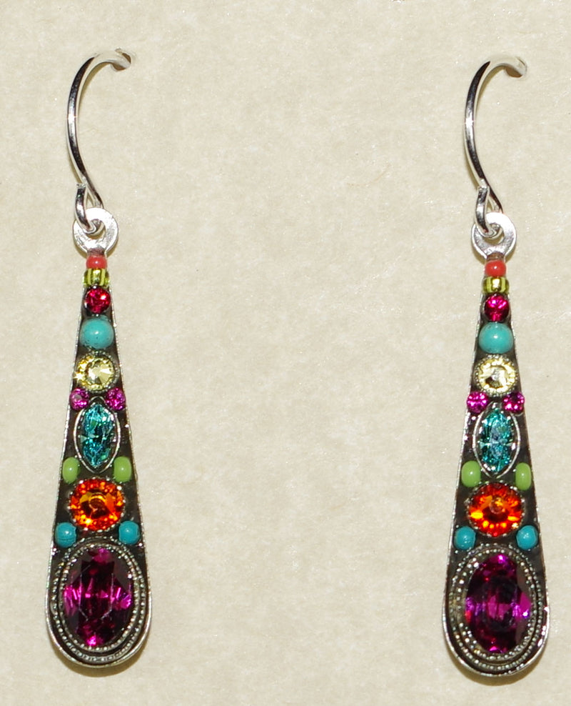 "FIREFLY EARRINGS STILLETTO MED DROP MC: multi color stones in 1"" silver setting, wire backs"