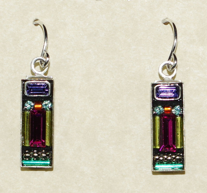 "FIREFLY EARRINGS MILANO RECT MC: multi color stones in 5/8"" silver setting, wire backs"