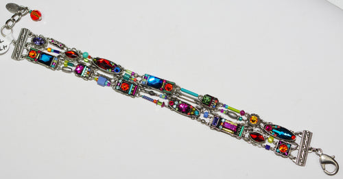 FIREFLY BRACELET MILANO 3 TIER MC: multi color stones in silver setting