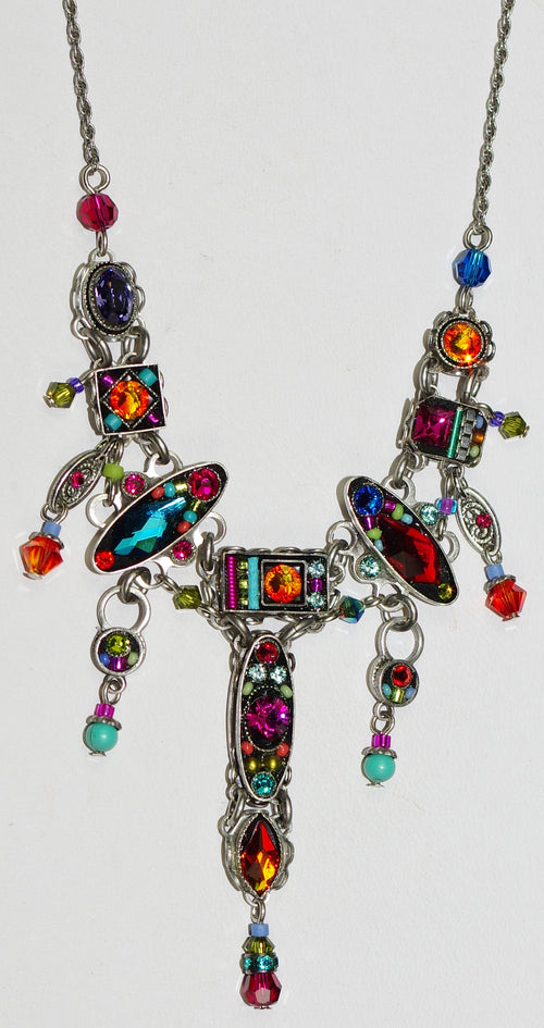 "FIREFLY NECKLACE MILANO W/DROP MC:  multi color stones, center charm = 2"" long, silver 17"" adjustable chain"