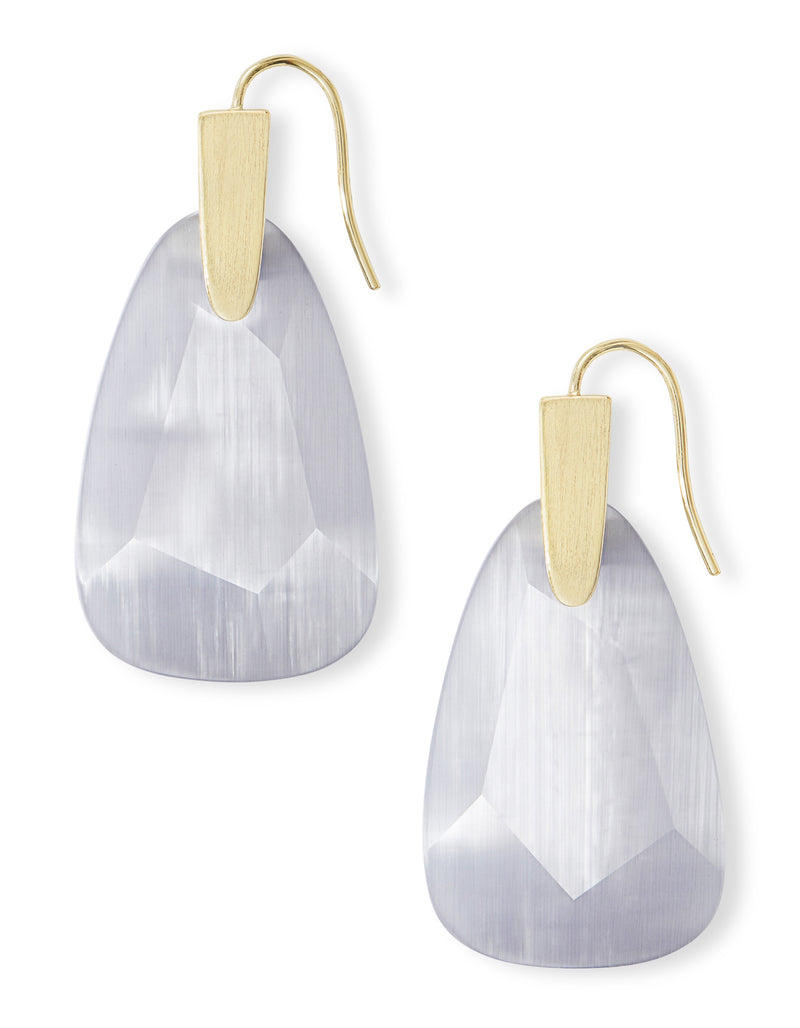KENDRA SCOTT EARRINGS MARTY GOLD SLATE CAT'S EYE