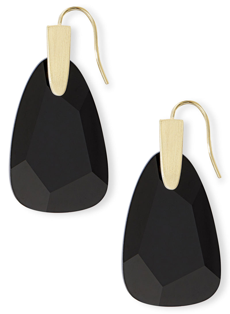 KENDRA SCOTT EARRINGS MARTY GOLD BLACK OPAQUE GLASS