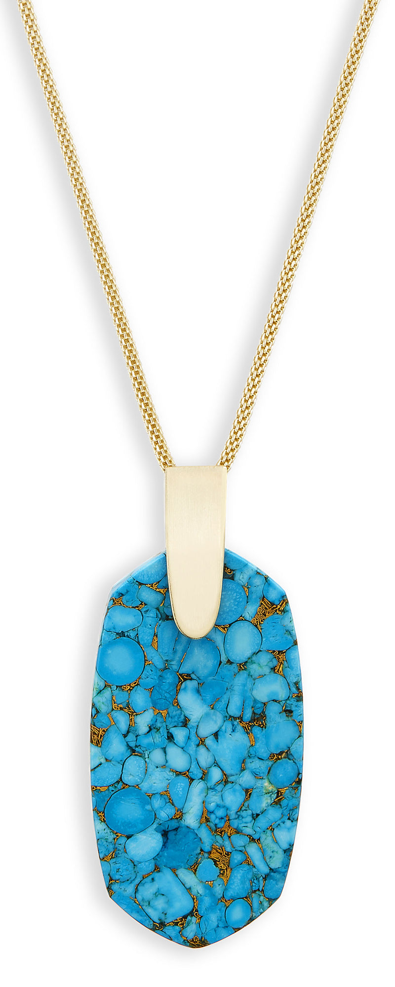 KENDRA SCOTT NECKLACE INEZ GOLD BRONZE VEIN TURQ
