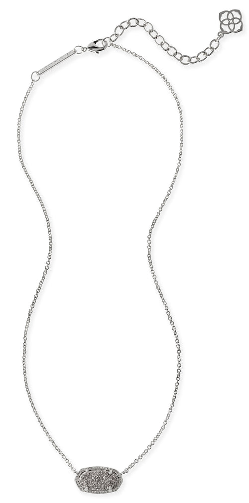 KENDRA SCOTT NECKLACE ELISA RHODIUM DRUSY PLATINUM