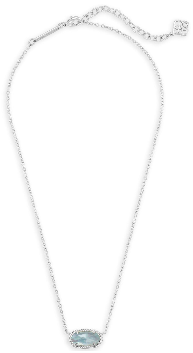KENDRA SCOTT NECKLACE ELISA RHODIUM LIGHT BLUE ILLUSION