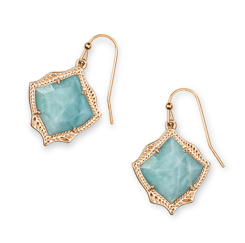 KENDRA SCOTT EARRINGS KYRIE ROSEGOLD TEAL QUARTZITE