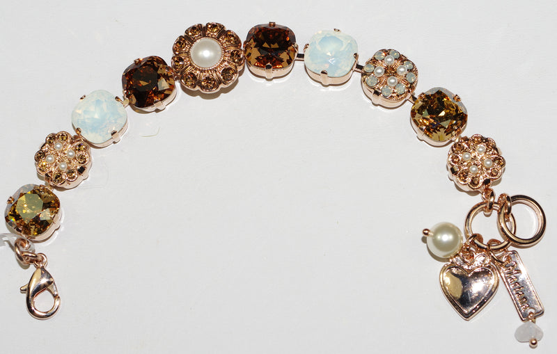 "MARIANA BRACELET RHAPSODE: amber, brown, white opal, blue, pearl 1/2"" stones in rose gold setting"