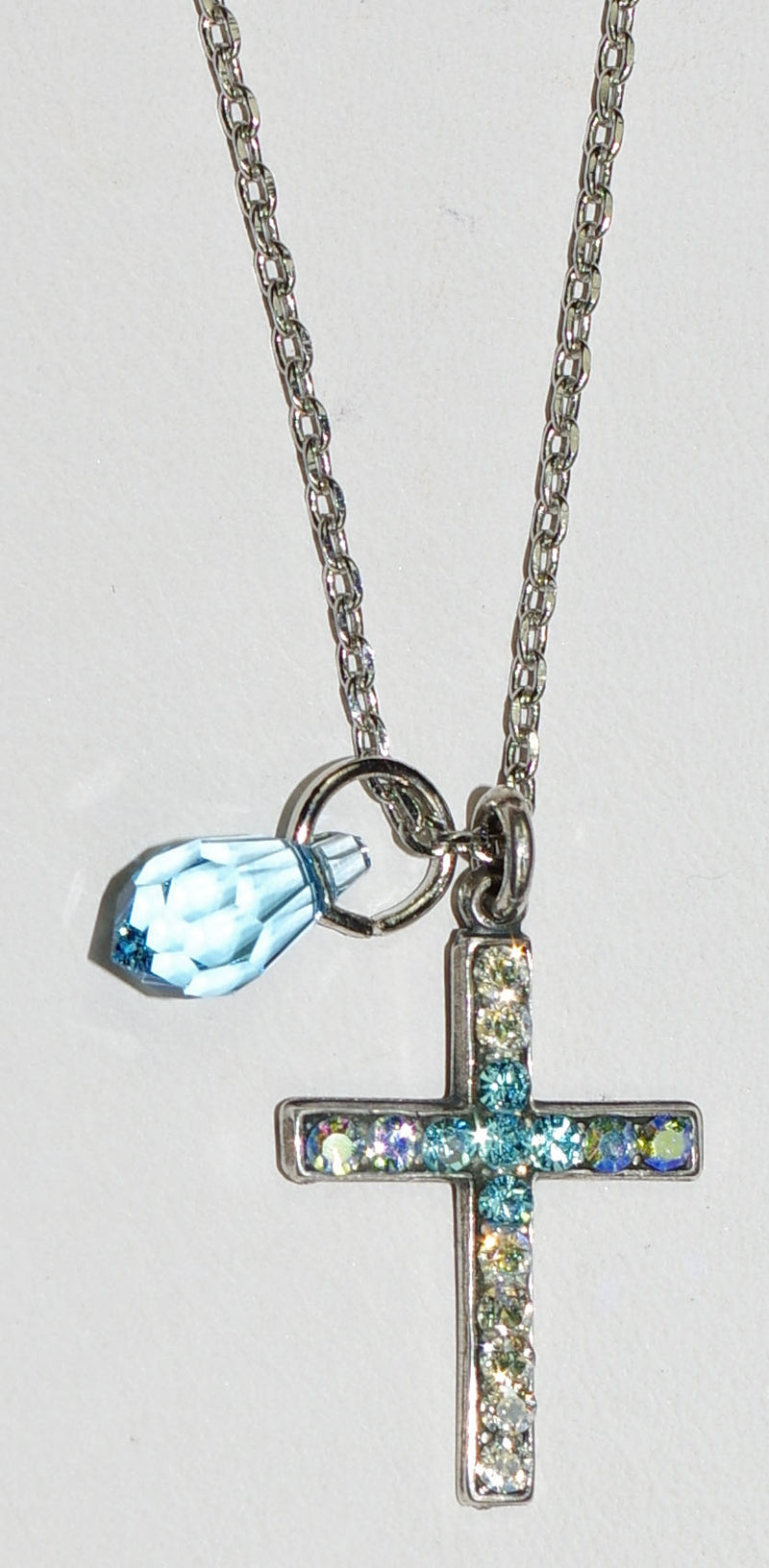 "MARIANA CROSS PENDANT ITALIAN ICE: blue, clear stones in 1"" silver setting, 18"" adjustable chain"