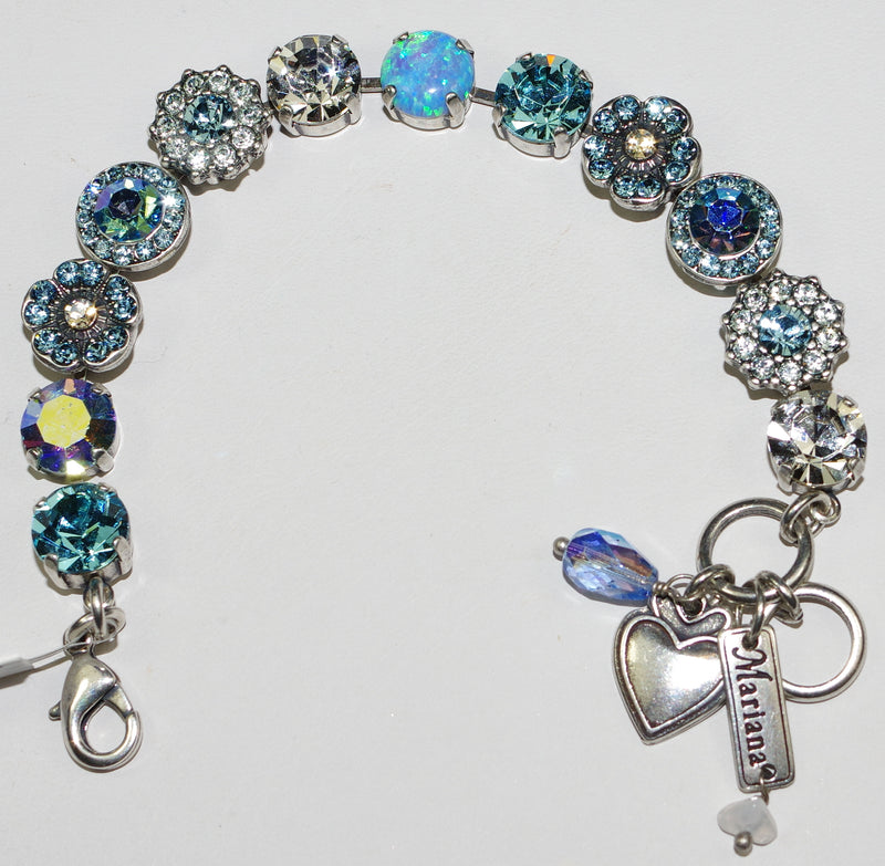 "MARIANA BRACELET ITALIAN ICE: blue, clear, a/b, simulated opal 1/2"" stones in silver setting"
