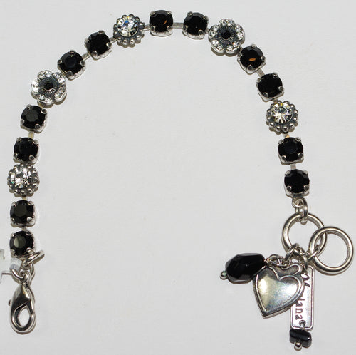 "MARIANA  BRACELET CHECKMATE: black, clear 3/8"" stones in silver setting"