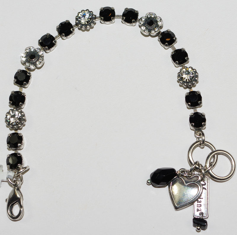 "MARIANA  BRACELET CHECKMATE: black, clear 3/8"" stones in silver rhodium setting"