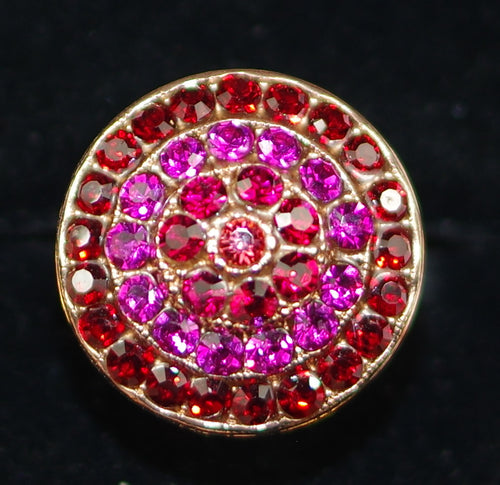 "MARIANA RING FIRE: red, pink stones in 3/4"" rose gold setting, adjustable size band"