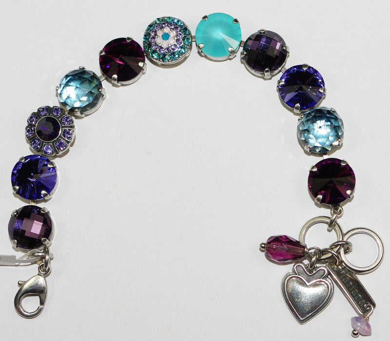 "MARIANA BRACELET PEACOCK: teal, purple, blue 1/2"" stones in silver setting"