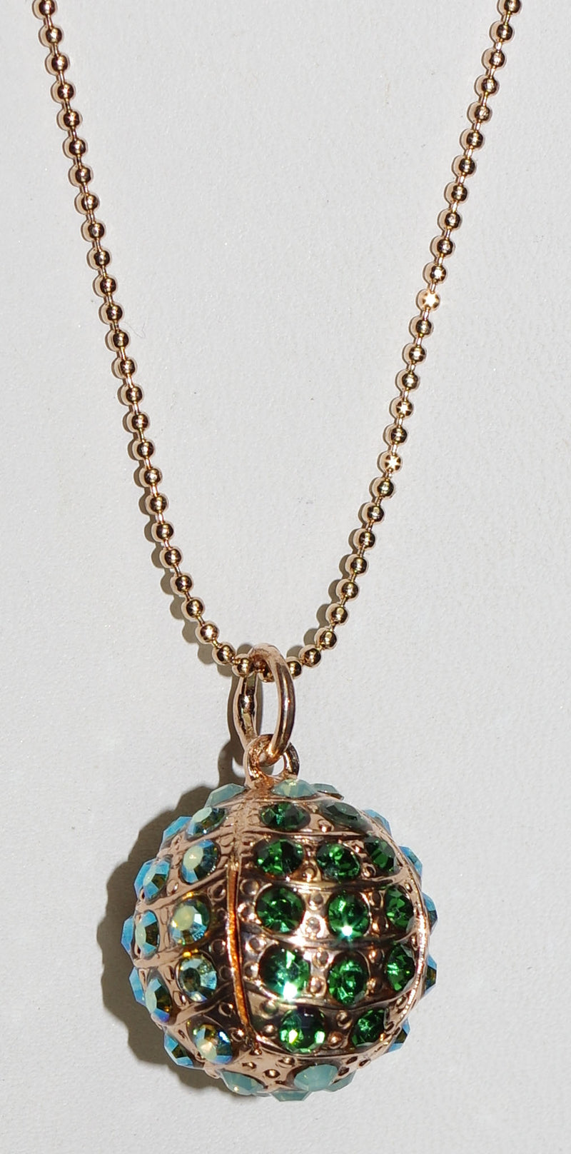 "MARIANA PENDANT FERN: green, A/B stones in 3/4"" rose gold sphere, rose gold setting, 34"" adjustable chain"
