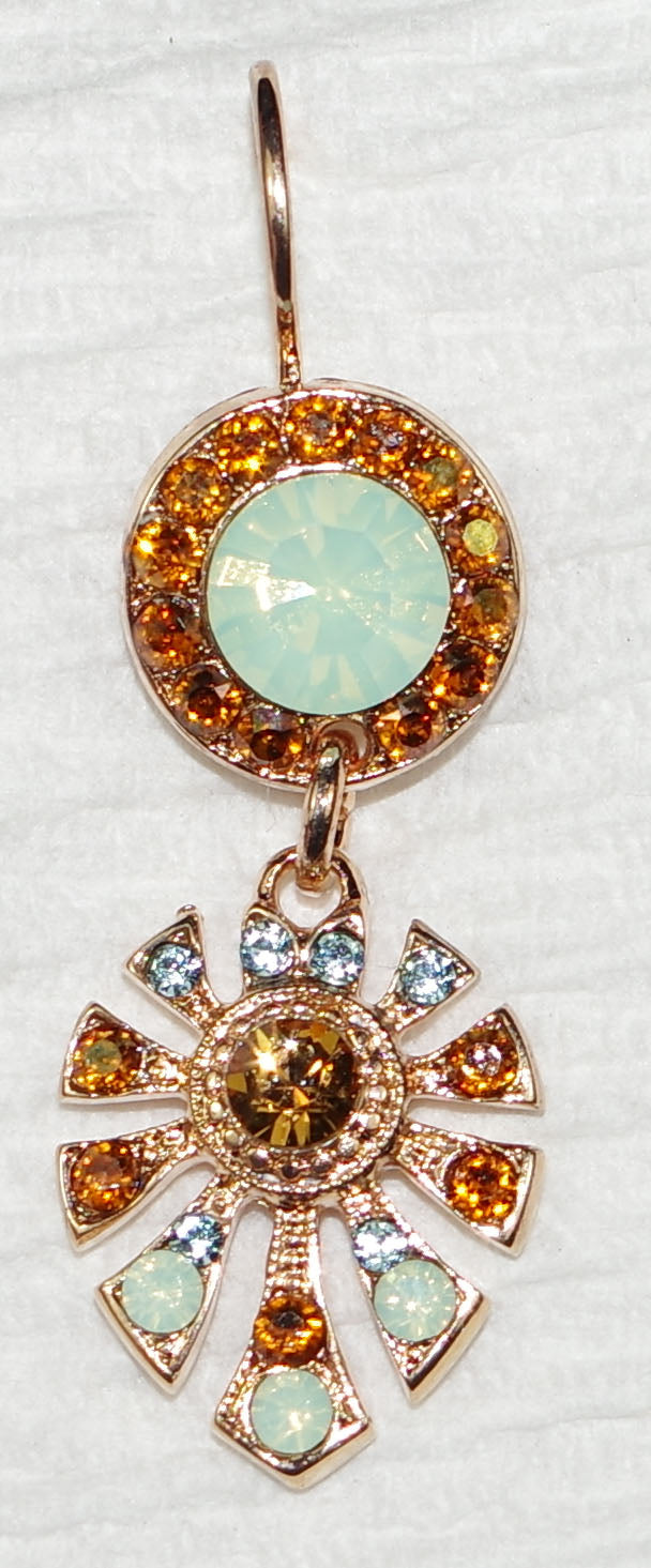 "MARIANA EARRINGS DUNAWAY FORGET ME NOT: pacific opal, amber, blue stones in 1"" rose gold setting, lever back"