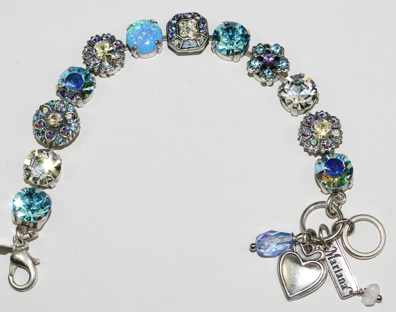 "MARIANA BRACELET ITALIAN ICE: blue, clear, a/b simulated opal 1/2"" stones in silver setting"
