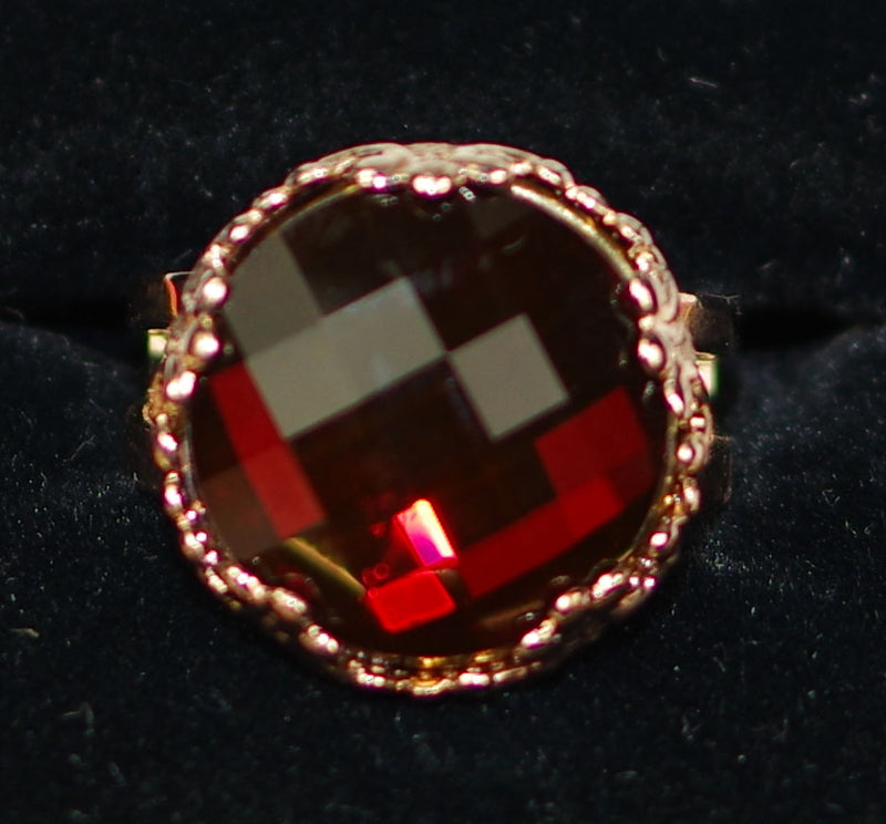 "MARIANA RING RED: dark red stone in 3/4"" rose gold setting, adjustable size band"