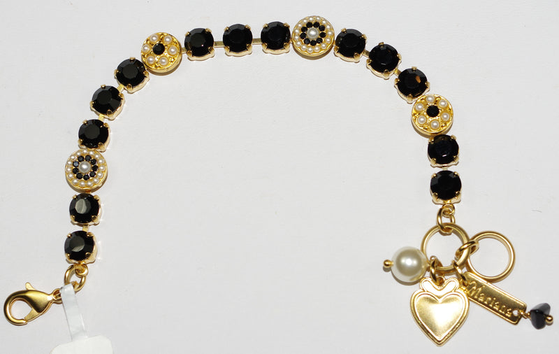 "MARIANA  BRACELET: black, pearl 3/8"" stones in yellow gold setting"