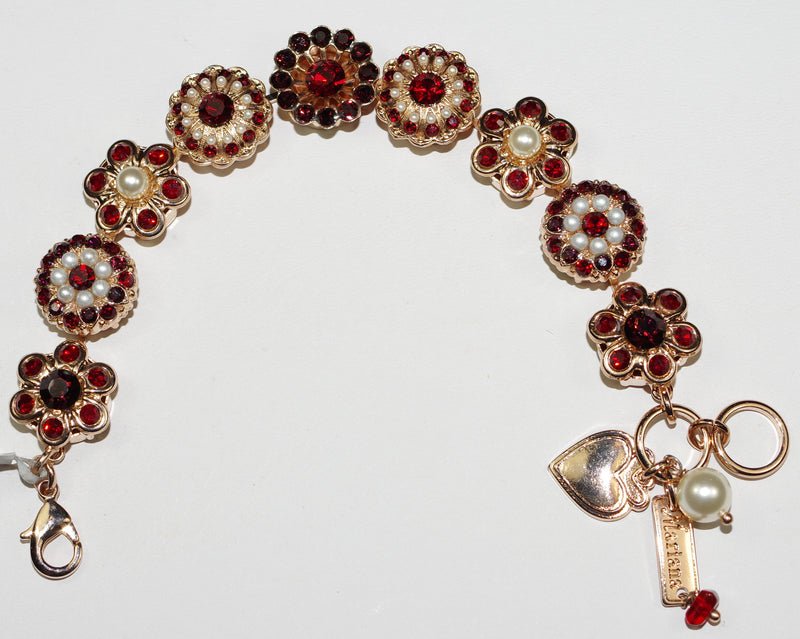 MARIANA BRACELET RED: red, pearl, garnet stones in rose gold setting