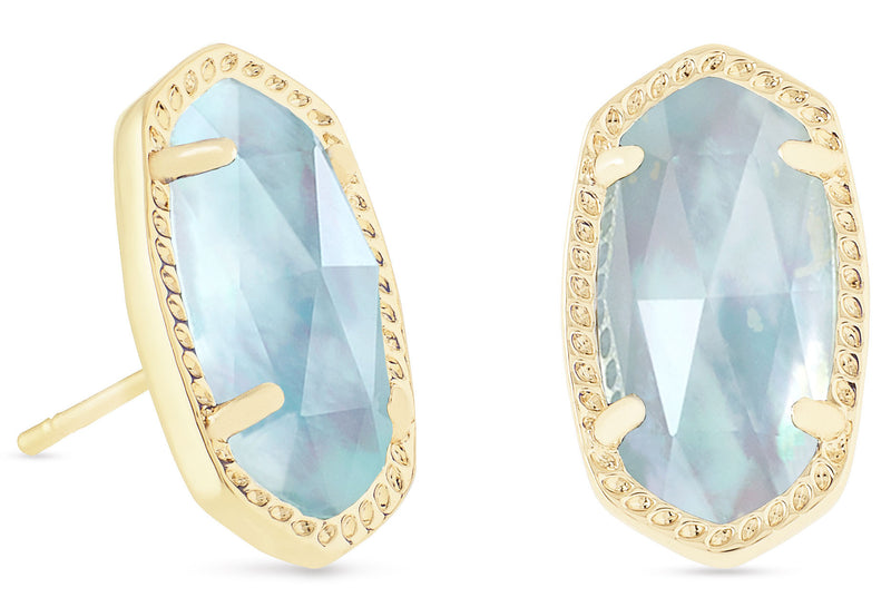 KENDRA SCOTT EARRINGS ELLIE GOLD LIGHT BLUE ILLUSION