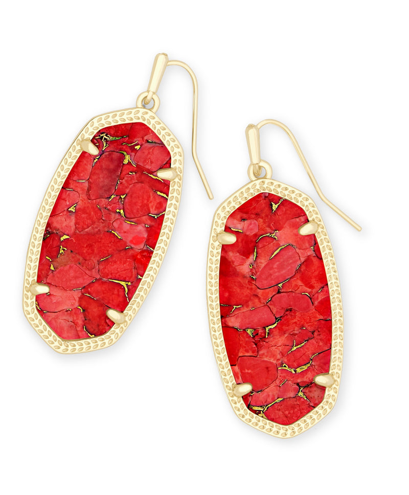 KENDRA SCOTT EARRINGS ELLE GOLD BRONZE VEINED RED