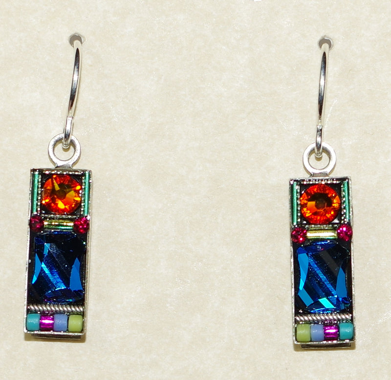 "FIREFLY EARRINGS MILANO RECT MC: multi color stones in 3/4"" silver setting, wire backs"
