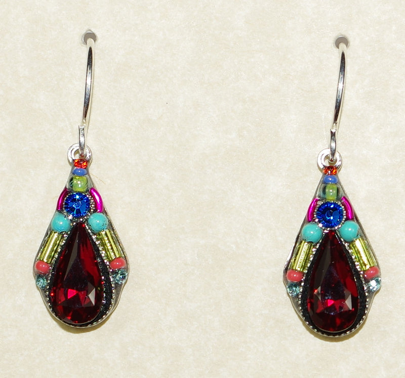 "FIREFLY EARRINGS CAMELIA DROP MC/SR: multi color stones in 3/4"" silver setting, wire backs"