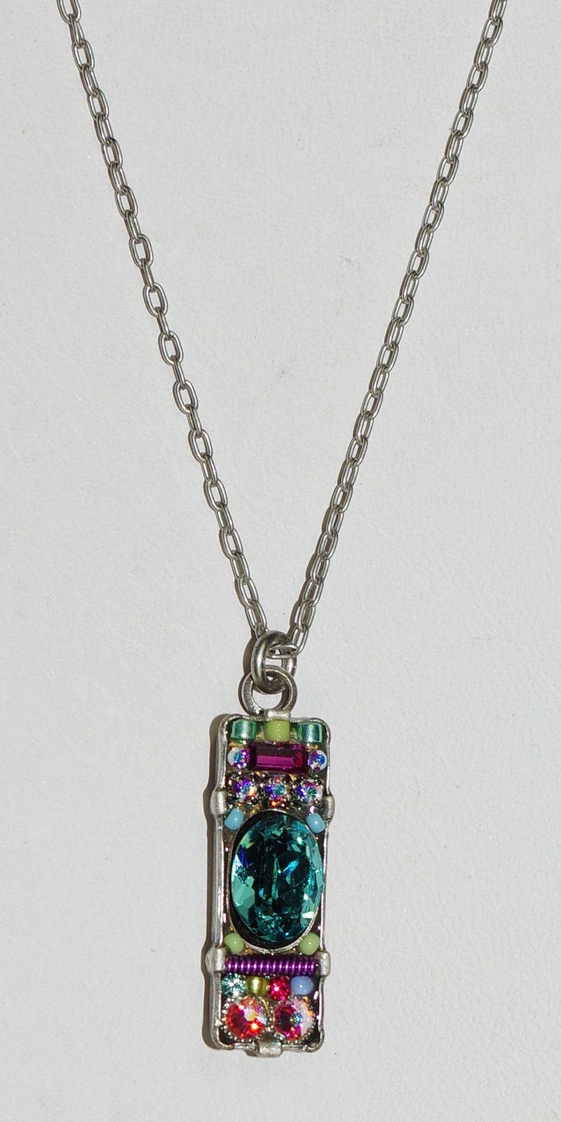 "FIREFLY NECKLACE BAR SOFT: multi color stones in 1"" pendant, silver 18"" adjustable chain"