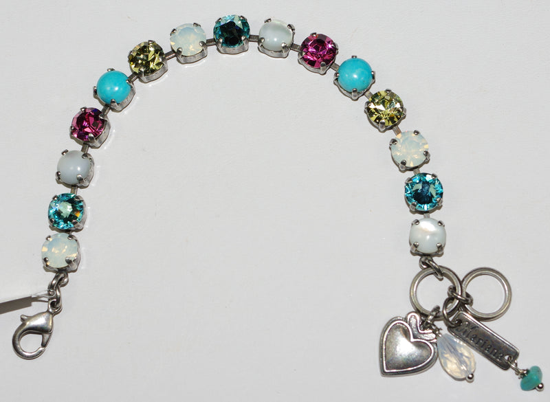 "MARIANA BRACELET MARGARITA BETTE: pink, blue, yellow, white 3/8"" stones in silver setting"