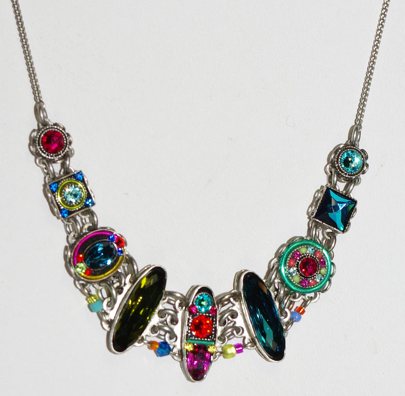 "FIREFLY NECKLACE PETITE DOLCE-MC: multi color stones in silver 17"" adjustable chain"