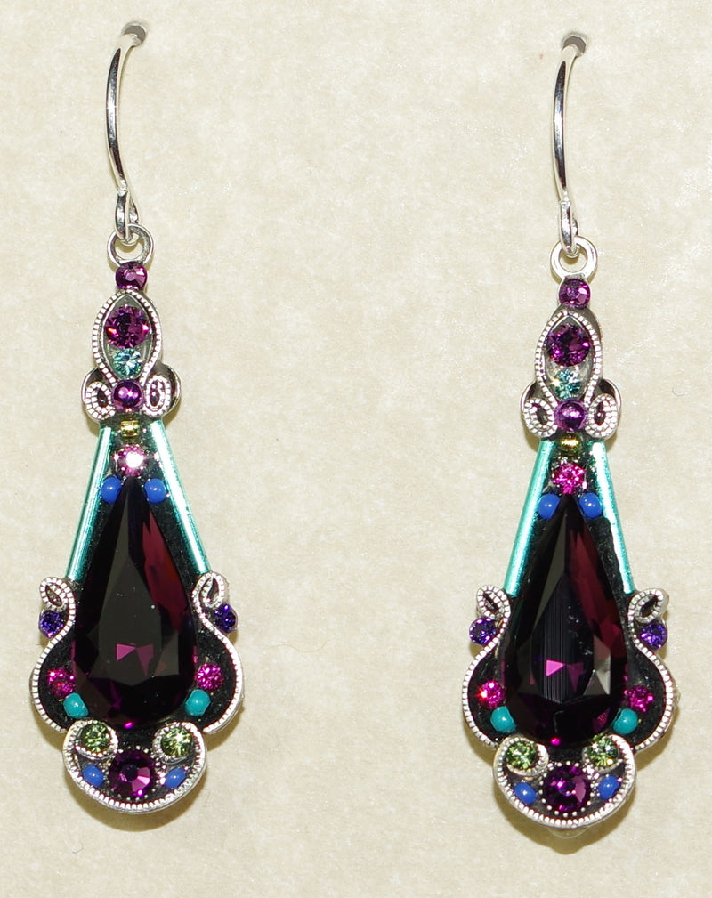 "FIREFLY EARRINGS LONG ELABORATE-AMETHYST: multi color stones in 1.25"" silver setting, wire backs"