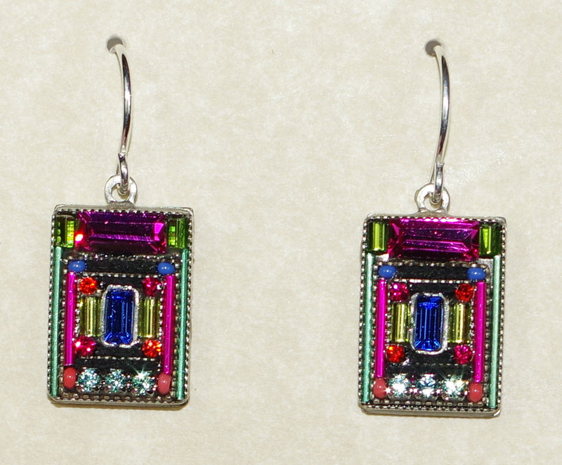 "FIREFLY EARRINGS ARCHITECTURAL RECTANGLE MC: multi color stones in 5/8"" silver setting, wire backs"
