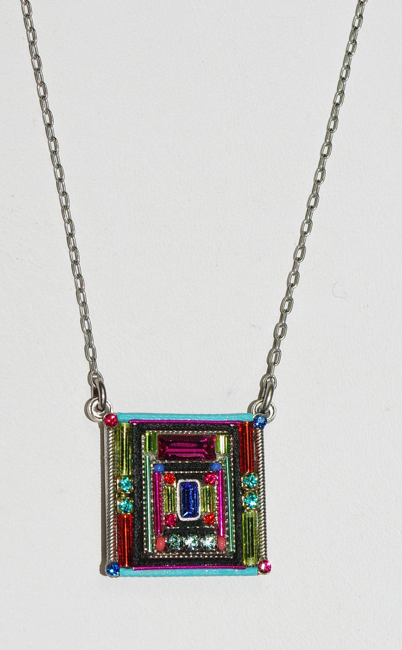 "FIREFLY NECKLACE ARCHITECTURAL SQUARE MC: multi color stones in 3/4"" pendant, silver 17"" adjustable chain"